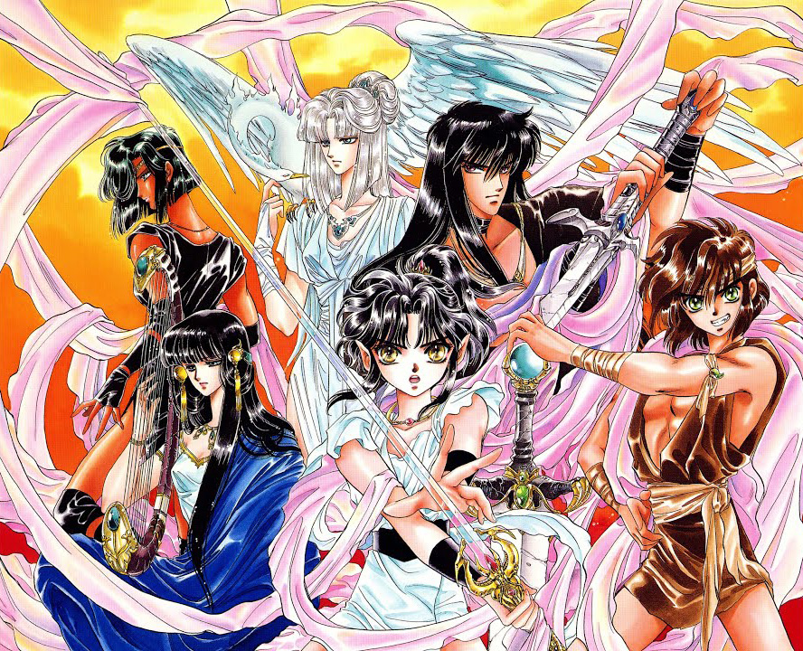 An illustration by CLAMP of the main six characters in their series RG Veda.