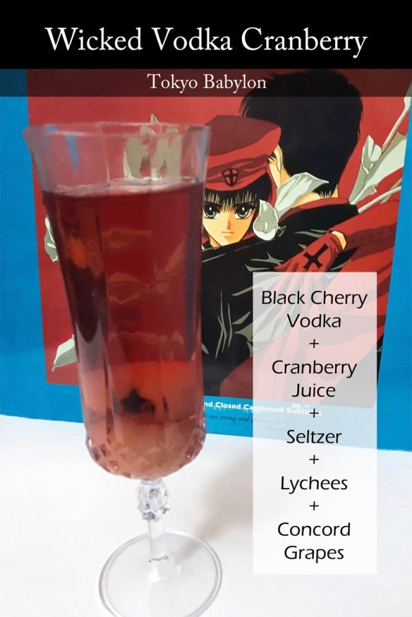 Photo of a red drink with what looks like a fake eyeball in it, with an image of Tokyo Babylon behind it. Overlay text displays the drink name and ingredients.
