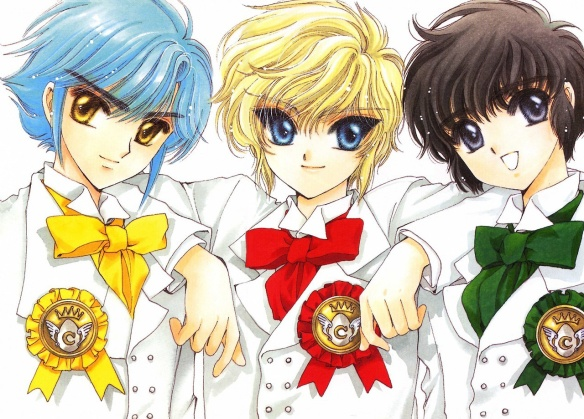 Three anime boys side by side, the middle one with his arms on the other two's shoulders. Art by CLAMP.