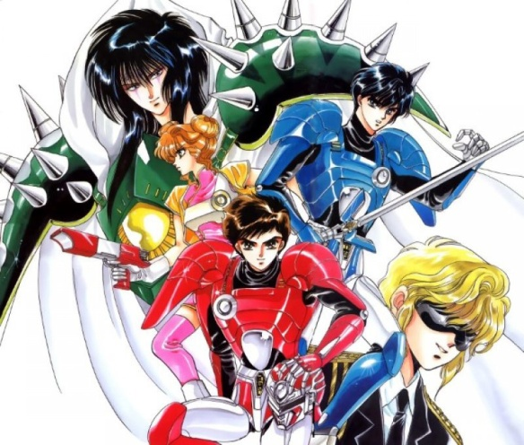 Image of various, primary colored figured in a actiony, sentai-style pose. Art by CLAMP.