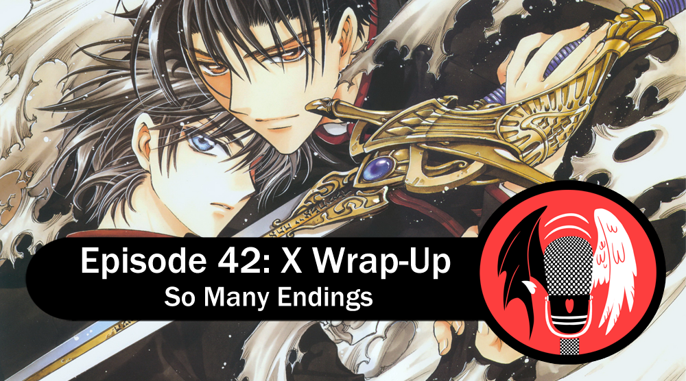 Title overlayed with the CLAMPcast logo. Image behind is of Kamui and Fuuma, with the sacred sword.