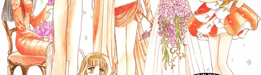 A illustration by CLAMP of various women, most of whom are holding flowers and wearing cute dresses. Overlayed on the image is the name of the episode, and the CLAMPcast logo.