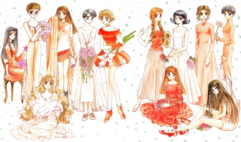 An illustration by CLAMP of 12 women, all wearing pretty outfits and holding flowers.