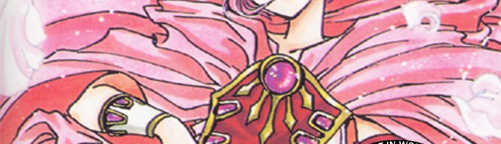 CLAMP's illustration of Hikaru dressed in her epic armor. Overlayed are the title of the episode, and the CLAMPcast logo.