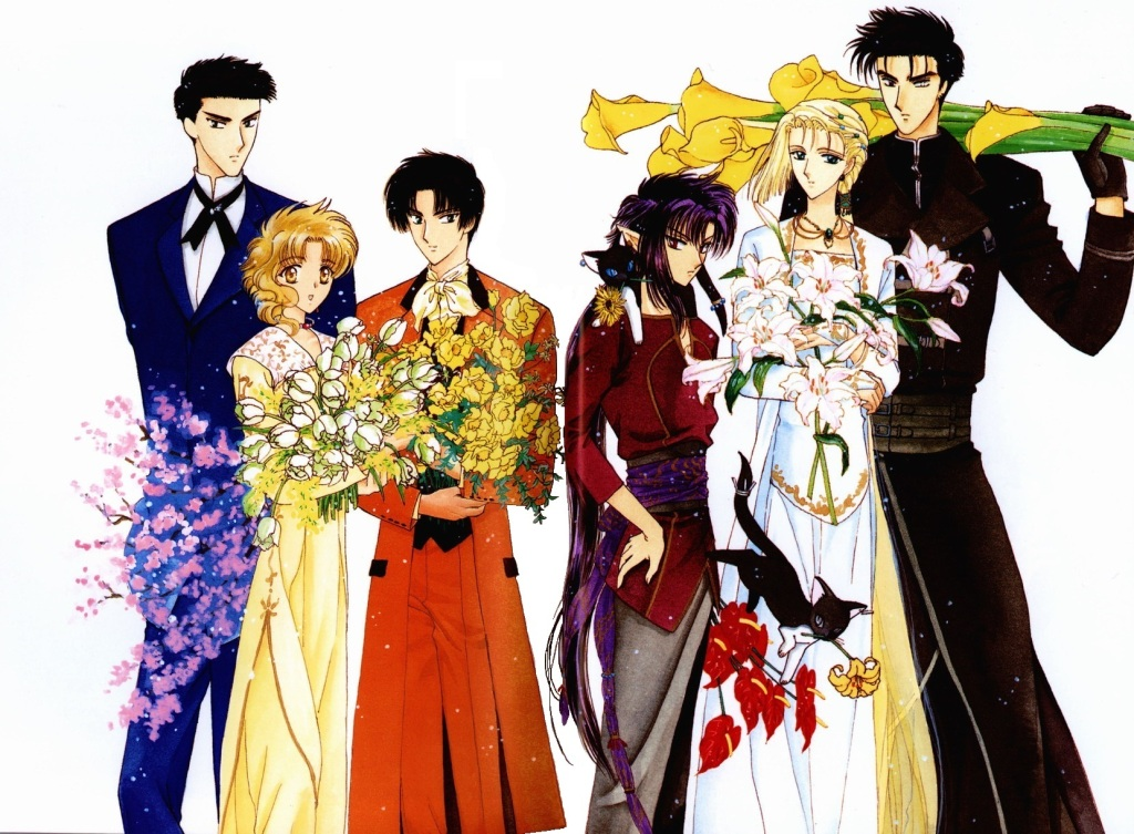An illustration by CLAMP, of the main characters in Wish, each holding a different kind of flower.